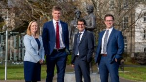 Pictured in Tralee to announce the merger of MJS Legal with Cork's CDS Law & Tax are (L-R) Jennifer Downing (Senior Associate, CDS Law & Tax), Tommy Walsh (Kerry GAA star and Chartered Tax Advisor with CDS Law & Tax) Mike Stack (MJS Legal) and Ciaran Desmond (Principal, CDS Law & Tax).